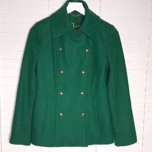 Guess Kelly Green Gold Button Pea Coat